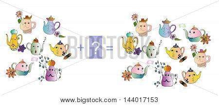 Cartoon illustration of mathematical addition. Examples with teapot. Educational game for children. Colorful vector illustration.