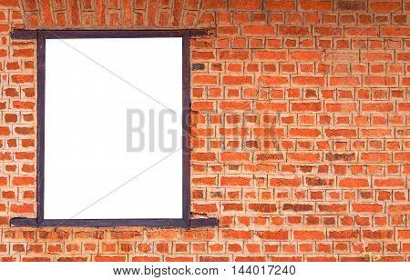 Blank Billboard On Brick Wall For New Advertisement