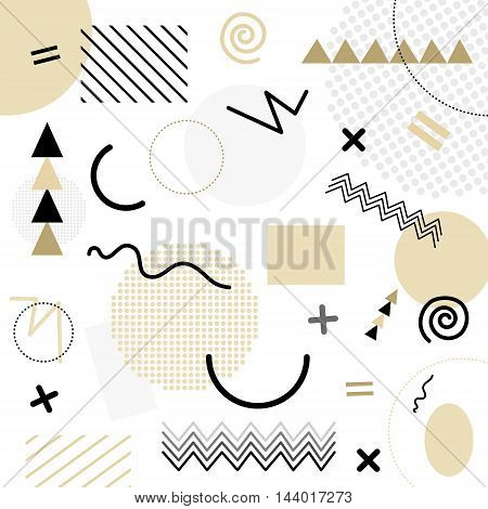 White Abstract Geometric Chaotic Pattern. Memphis Style. Use For Fashion, Cards, Posters, Presentati