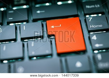 Orange Color Blank Enter Key high quality and high resolution studio shoot