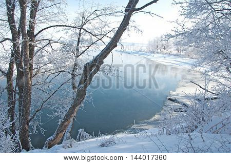River winter in Russia. Tatarstan Kama, frost, white, ice,