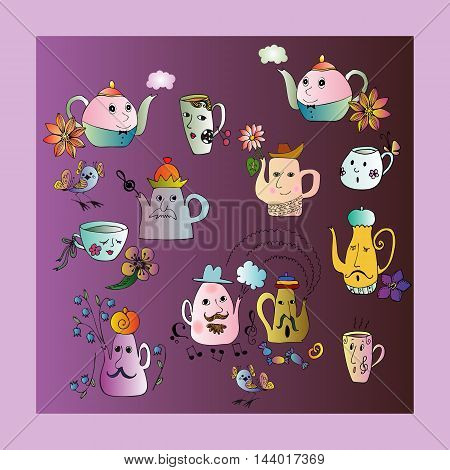 Bright set of teapot and cups. Cartoon illustration. Vector image.