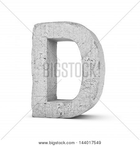 3D rendering concrete letter D isolated on white background. Signs and symbols. Alphabet. Cracked surface. Textured materials. Cement object.
