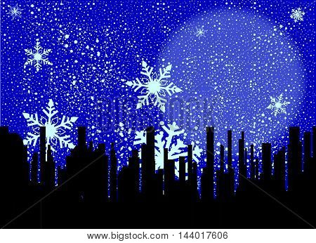 A snowflake filled sky over a black cityscape