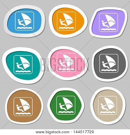 Windsurfing Symbols. Multicolored Paper Stickers. Vector