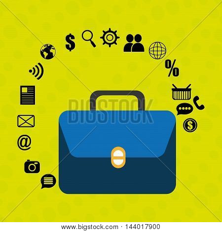 suitcase portfolio buy web vector illustration eps 10