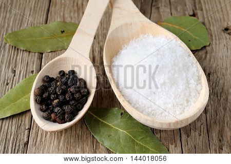 Salt and black pepper in wooden spoons