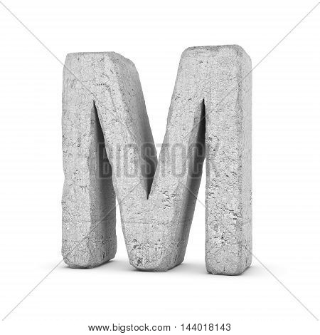 3D rendering concrete letter M isolated on white background. Signs and symbols. Alphabet. Cracked surface. Textured materials. Cement object.