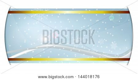 A cold winter setting on a ribbon background