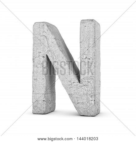 3D rendering concrete letter N isolated on white background. Signs and symbols. Alphabet. Cracked surface. Textured materials. Cement object.