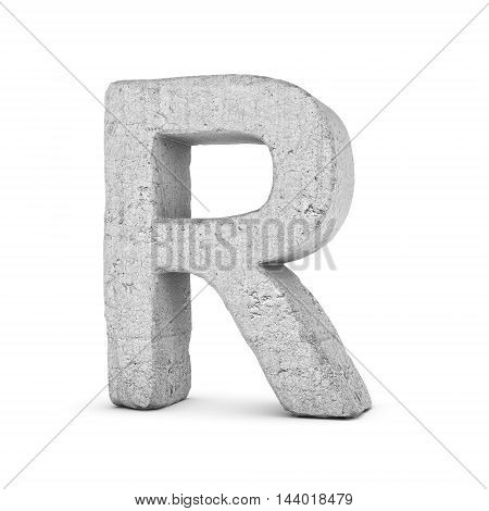 3D rendering concrete letter R isolated on white background. Signs and symbols. Alphabet. Cracked surface. Textured materials. Cement object.