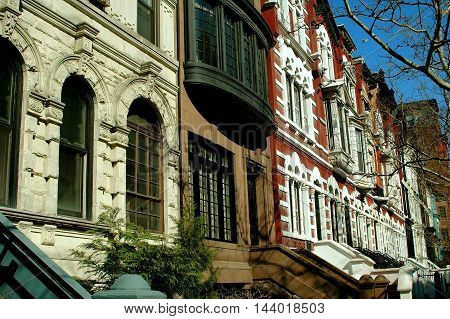 New York City - April 5 2005: Elegant early 20th century townhouses and brownstones on the north side of West 78th Street on the Upper West Side of Manhattan
