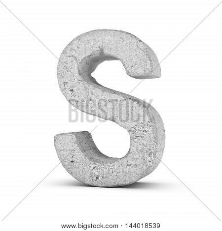 3D rendering concrete letter S isolated on white background. Signs and symbols. Alphabet. Cracked surface. Textured materials. Cement object.