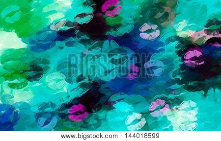 pink blue and green kisses lipstick abstract background