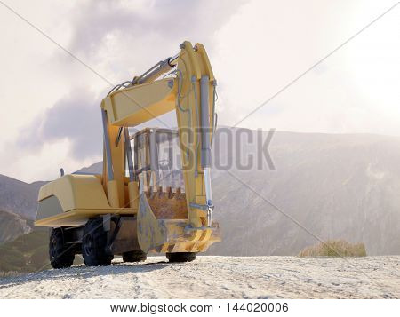 Front view of the bucket on a large heavy duty excavator parked on a mountain top against a bright cloudy sky with distant peaks. 3d Rendering.