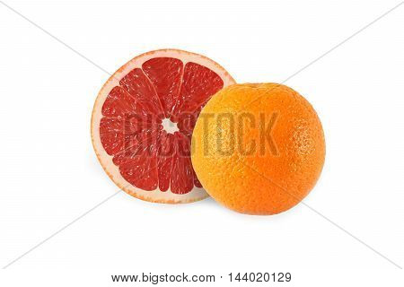 whole orange and cut grapefruit isolated on white background with clipping path