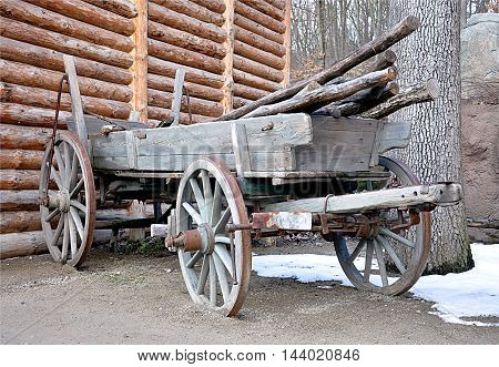 view of an old wooden wagon on a farm in winter