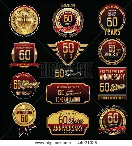 Anniversary 60 years retro vintage badges and labels vector