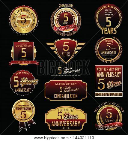 Anniversary 5 years retro vintage badges and labels vector
