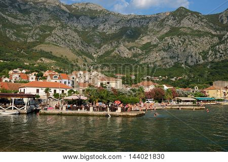 RISAN MONTENEGRO - JULY 30 2016: View on town of Risan Montenegro. Risan is the oldest settlement in the Bay of Kotor.