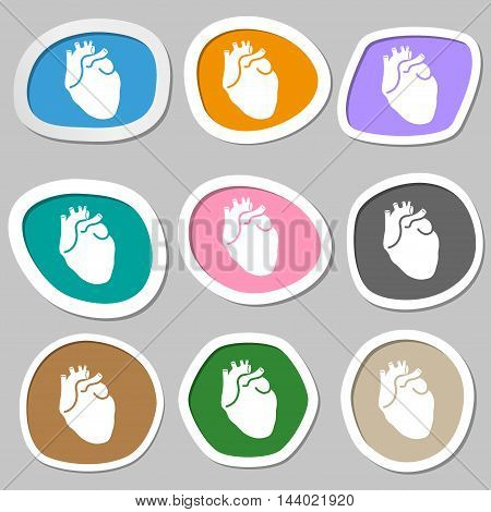 Human Heart Symbols. Multicolored Paper Stickers. Vector