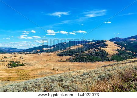 Plains And Hills In Yellowstone