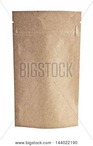 kraft paper bag , isolated on white with clipping patch