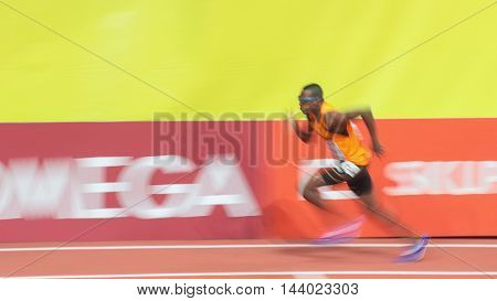 PRAGUE, CZECH REPUBLIC - MARCH 6, 2015: Lee-Marvin Bonevacia (#242 Netherlands) competes in the men's 400m event of the European Athletics Indoor Championship.