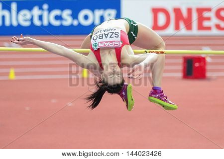 PRAGUE, CZECH REPUBLIC - MARCH 7, 2015: Barbara Szabo (#628 Hungary) competes in the women's high jump event of the European Athletics Indoor Championship.
