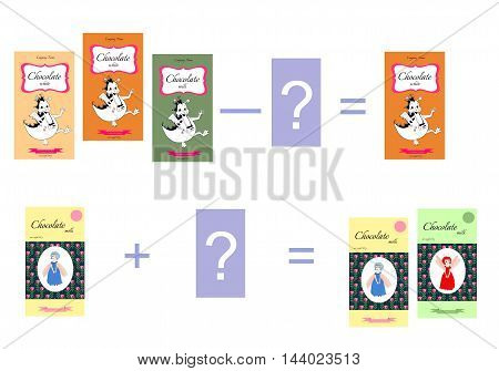Educational game for children. Cartoon illustration of mathematical addition and subtraction. Examples with chocolate. Vector image.