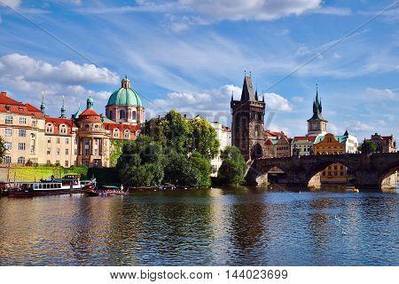 Prague Czech Republic-August 23 2016: View of Charles Bridge and Vltava River