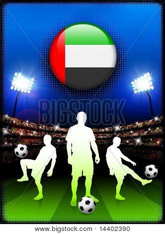 United Arab Emirates Flag Button with Soccer Match in Stadium Original Illustration