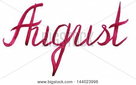 Watercolor august summer month red lettering typographic word isolated