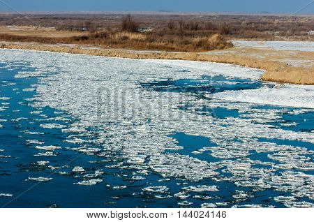 First Frost Formation Of Ice On The River. Ili Kazakhstan. Kapchagai Bakanas