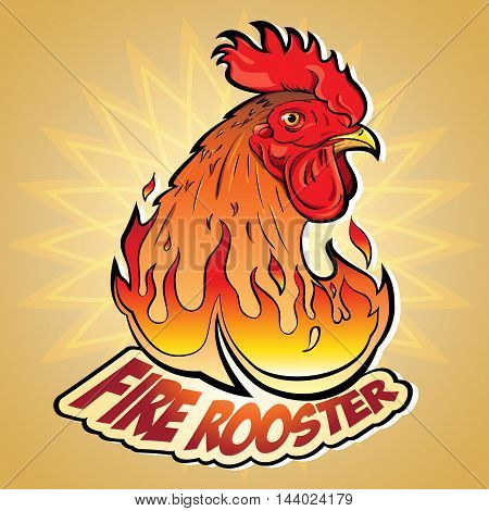 Creative Vector illustration of New Year's symbols: Fire Rooster in the style of comics and cartoons. Image stylized logo a symbol or a sign with an accompanying inscription: Fire Rooster