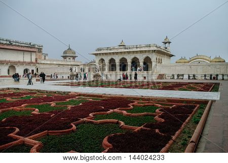 Agra, India - January 8, 2012: Anguri bagh and Khas Mahal in Red Agra Fort. Agra Uttar Pradesh India