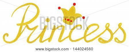 Princess crown gold golden word typographic lettering isolated