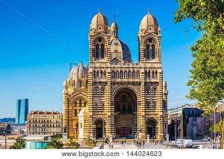 MARSEILLE, FRANCE - MAY 22, 2015:  Beautiful spring day. The magnificent facade of the Cathedral of Saint Mary Major in Marseille