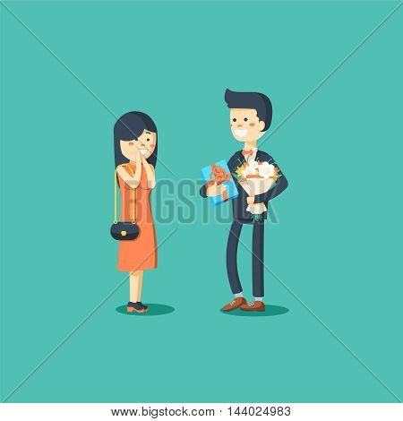 Man dressed in a suit gives a woman a bouquet of flowers and a gift. Vector illustration of a flat design
