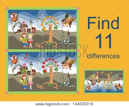 Educational game for children. Find differences. Vector illustration. Easy editable pattern.