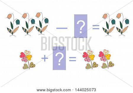 Educational game for children. Examples with cute colorful flowers. Cartoon illustration of mathematical addition and subtraction. Vector image.