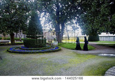 Istanbul Turkey - March 28 2015: Beylerbeyi Palace garden. The Beylerbeyi Palace (Turkish: Beylerbeyi Sarayi) Beylerbeyi meaning