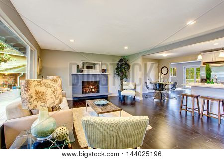 Cozy Living Room Interior With Fireplace And Hardwood Floor.