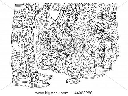 Vector hand drawn legs loving couple girl and the guy. Romantic style. Pattern for coloring book A4 size. Coloring book for adults. Zentangle drawing.