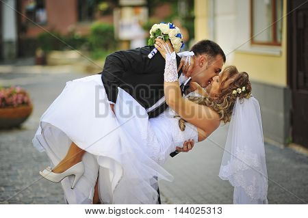 Happy Wedding Couple Walking Streets Of City