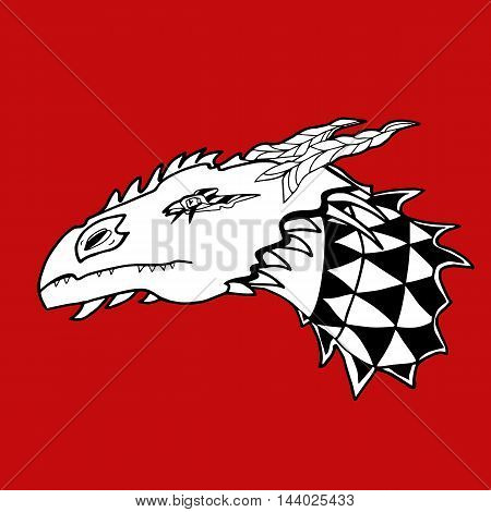 Dragon's head. White and black contour lines on red background. Graphics illustration. For prints, clothes, designs.