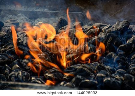 Charcoal Fire For Bbq With Little Smoke