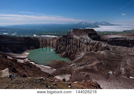 The beautiful crater lake in Gorely Volcano's crater, Kamchatka, Russia
