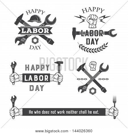 Happy labor day vector monochrome emblems set.