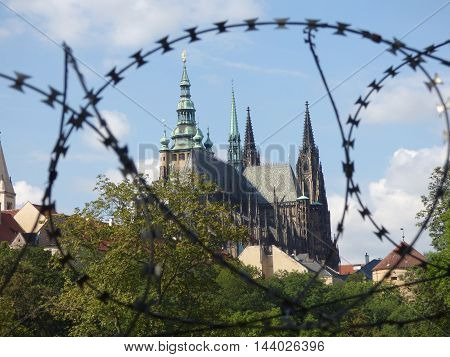 St. Vitus Cathedral in Prague behind barbed wire